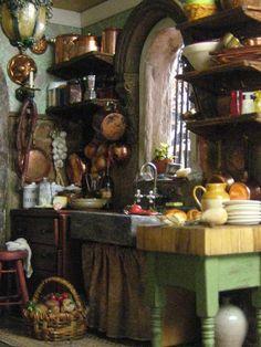 Miniature Italian Kitchen ♡ ♡By Studio E - Kitchen Decor Mini Kitchen, Miniature Kitchen, Rustic Kitchen, Country Kitchen, Vintage Kitchen, Miniature Houses, Miniature Dolls, Witch Cottage, Witch House