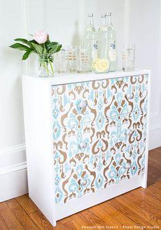 DIY Ikea Rast Dresser Hack with Stenciled Style | Khanjali Ikat Stencil by Royal Design Studio - Painted Dresser Drawers Furniture Piece with Trendy Designer Ikat Fabric Pattern