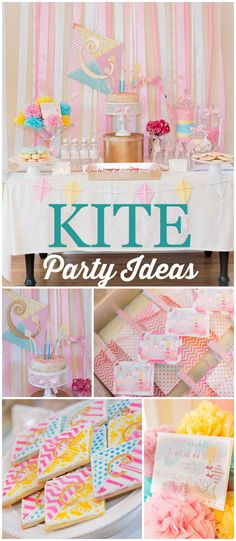 Love this gorgeous kite themed party! The color scheme is so pretty! See more party planning ideas at CatchMyParty.com!