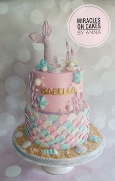 A Mermaid theme cake for Isabella. The design was adapted from different cakes provided by the customer. Also with cupcakes, cake pops and cookies to match the theme. Mermaid Birthday Cakes, Birthday Cake Girls, Birthday Parties, Birthday Ideas, Girls 1st Birthday Cake, Birthday Cake Pops, Purple Birthday, Sirenita Cake, Sea Cakes