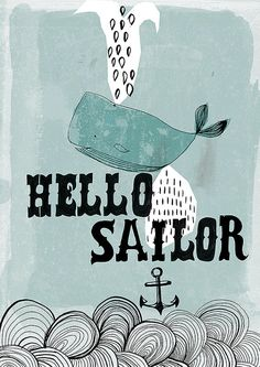 Hello Sailor archival art print - small and medium size