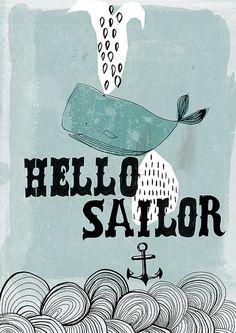 Hello Sailor archival art print by lovelysweetwilliam on Etsy, $15.00