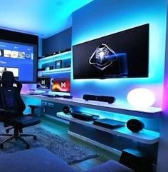 gamer room This is my next room Gaming Desk Setup, Computer Gaming Room, Gaming Rooms, Bedroom Setup, Bedroom Decor, Deco Gamer, Video Game Rooms, Video Games, Home Office Setup