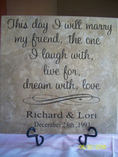 Personalized Wedding Tile with name & date