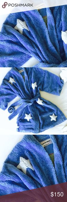 Canyon Group Chenille Robe SUMMER VALUE  Canyon Group Bedroom Blue Plush Chenille Robe. This bedroom blue, plush chenille robe is exquisitely tufted w/a yellow moon & white stars!  Luxurious, cotton/polyester plush chenille is thick & warm, perfect for al