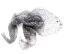 Grey mohair shawl triangle minimalist spring scarf by Renavere, $25.00