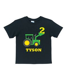 Black Birthday Tractor Personalized Tee - Toddler & Boys