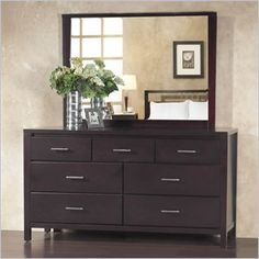 Modus Nevis 7 Drawer Double Dresser and Mirror Set in Espresso * Click on the image for additional details. (This is an affiliate link)