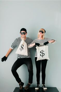 Steal the show with this adorable costume for two. (You can also wear this with your significant other or even your kids!) Get the tutorial at Say Yes. What you'll need: Black and white striped shirt ($12; amazon.com); Black half mask ($4; amazon.com)