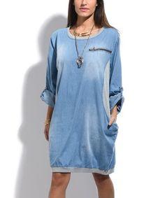 Look at this #zulilyfind! Blue Wash Denim Contrast-Side Shift Dress - Plus Too #zulilyfinds