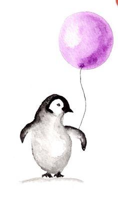 a penguin w a purple balloon