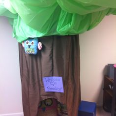School Room Reading Nook. My Mom sisters I worked all night. Brown curtains green table cloth and a hula hoop!