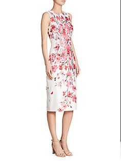 DAVID MEISTER FLORAL-PRINT SHEATH DRESS. #davidmeister #cloth #