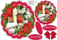 Beautiful Red Robin with Red Poinsettias  on Craftsuprint - View Now!