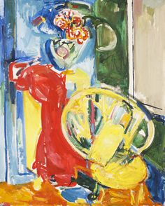 Hans Hofmann, (German/American, 1880-1966) | Still Life with Chair and Flowers, ca. 1936.