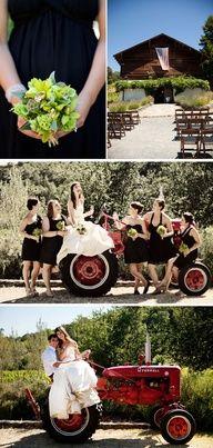 country wedding ideas for fall - love the tractor in the background for pics - Bodas rusticas - Casamientos en el campo - weddingwire Cute Wedding Ideas, Trendy Wedding, Wedding Pictures, Perfect Wedding, Rustic Wedding, Dream Wedding, Wedding Inspiration, Wedding Country, Wedding Hair