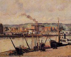 Morning, Rouen, the Quays, 1896 - Camille Pissarro - WikiArt.org