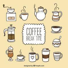 Mão hora do café desenhada Vetor grátis                                                                                                                                                                                 Mais