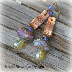 Key Fob Handmade Copper and Lampwork Earrings by Kristi Bowman $34.00, via Etsy.
