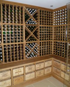 Solid Oak Corner Wine Cellar