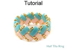 2 Hole Miyuki Half Tila Beaded Ring Beading Pattern Tutorial by Cara Landry with Simple Bead Patterns | Simple Bead Patterns