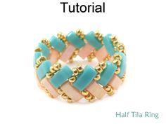 2 Hole Miyuki Half Tila Beaded Ring Beading Pattern Tutorial by Cara Landry with Simple Bead Patterns   Simple Bead Patterns