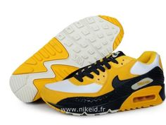 best website 4330a 1616c Nike Air Max 90 Blanc Jaune Chaussures Homme Air Max 90 Leather