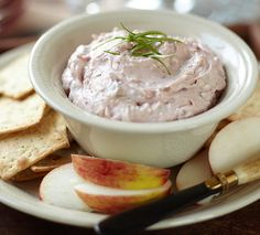 Cranberry Horseradish Bacon Dip from Stonewall Kitchen Kraft Recipes, Dip Recipes, Gourmet Recipes, Snack Recipes, Snacks, Recipies, Healthy Recipes, Yummy Appetizers, Appetizer Recipes