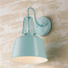 Soft Industrial Outdoor Wall Sconce. 100W 13.35Hx9wx10 $145/. Light blue, grey, orange white. Love the blue.