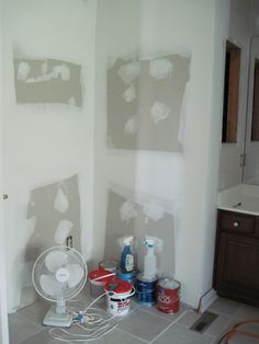 Drywall up where old corner shower unit used to be.  Work in progress.