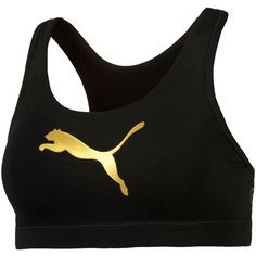 Puma Powershape Forever Gold dryCELL Mid-Impact Racerback Sports Bra ($28) ❤ liked on Polyvore featuring activewear, sports bras, black, racer back sports bra, puma sportswear, racerback sports bra, puma activewear and puma sports bra