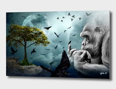 Gorilla Discovers Crows Based in France, digital artist Gen Z creates bold and evocative pieces that combine their dual interest in painting and photography. Each high quality print co Z Arts, Aluminium Sheet, Framed Prints, Art Prints, Crows, Things To Come, Artist, Photography, Painting