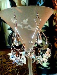 SALE Designer Rockstar Translucent Glass Gem Cut Star Charms on Large Silver Infinity Chandelier Earrings & Crystal Teardrops FREE SHIPPING - Only $6.95 on Etsy! https://www.etsy.com/listing/234414329/sale-designer-rockstar-translucent-glass