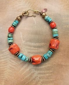 Coral and Turquoise Boho Bracelet