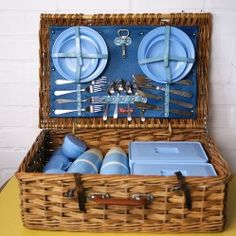 Vintage picnic set and hamper - Vintage Actually Vintage Picnic, Picnic Set, Recycled Furniture, Hamper, Recycling, Outdoors, Retro, Stylish, Outdoor Rooms