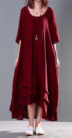 Women Short Sleeve Solid Color Long Maxi Vintage Cotton Dress