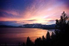 Photograph for sale of the sun rising over Heavenly Mountain on Lake Tahoe in California. Photograph taken along South Lake Tahoe's beach. Sunrise Lake, Sunset, South Lake Tahoe Beaches, Painting Inspiration, The Good Place, Romance, Tahoe California, Places, Photography