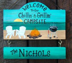 Camp Camping Sign W/ Beach Chairs & Palm by CreativeDesigns77