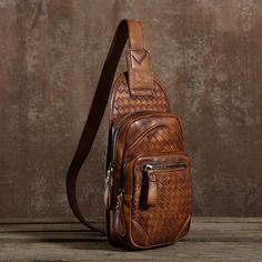 d2aa1722ce43 Handmade Leather Braided Mens Cool Chest Bag Sling Bag Crossbody Bag Travel  Bag Hiking Bag for men