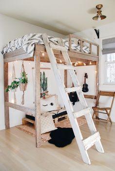 Boho Modern Loft Bedroom – Jaime J Scott Cute Bedroom Ideas, Girl Bedroom Designs, Room Ideas Bedroom, Small Room Bedroom, Bedroom Loft, Bed Rooms, Girls Bedroom With Loft Bed, Boho Teen Bedroom, Bedroom Modern