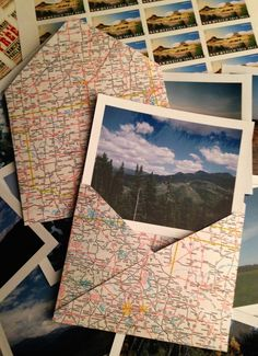 Make maps into envelopes to send pictures in.