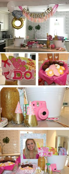 See how Kay & Co made Katie's Charleston bachelorette party picture-perfect -- pink & glitter-y bachelorette party decorations, personalized bachelorette party ideas, & a bachelorette bubbly bar combined to make the perfect Charleston bachelorette party weekend for Katie & her girls! #charlestonbachelorette #bachelorettepartyideas