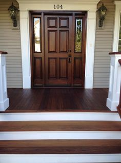 Here's a recent project we completed on a house in the Northwest suburbs of Chicago: The Refinishing of an Ipe Wood Front Porch Floor. #WoodRefinishing #BrazilianWalnut