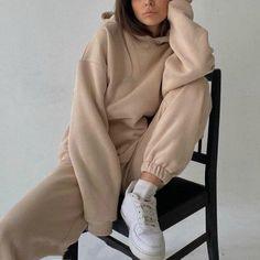 Specifications: Material: Polyester Sleeve Length(cm): Full Pattern Type: Print Nike Beige, Moda Oversize, Mode Outfits, Casual Outfits, Casual Suit, Fashion Outfits, Womens Fashion, Suits For Women, Sweatshirts