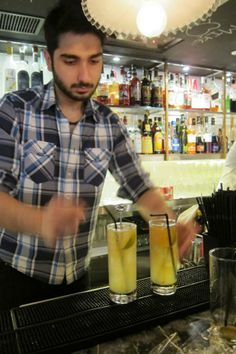 Restaurant Manager Vikash was making the special drinks...