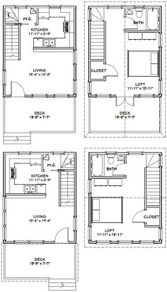 16x20 Houses PDF Floor Plans 569 sq ft by ExcellentFloorPlans