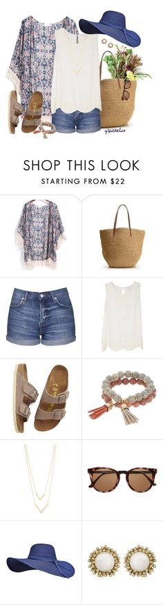 """Market Run"" by qtpiekelso ❤ liked on Polyvore featuring J.Crew, Topshop, Joie, Birkenstock, Coco Lane, Jennifer Zeuner, Witchery and Kendra Scott"