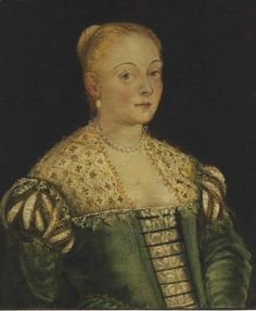 Studio of Jacopo Tintoretto | Portrait of a young lady, half-length, in a green dress | Artsy
