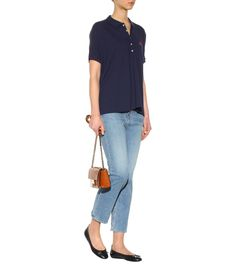 Polo shirt (Polo Ralph Lauren),Cropped jeans (Rag & Bone),Leather ballerinas (Tod's),Leather shoulder bag (Jimmy Choo)