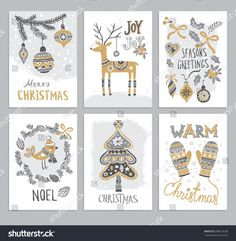 Christmas hand drawn cards with Christmas tree, fir branch, deer, balls, gift boxes and bird. Vector illustration.